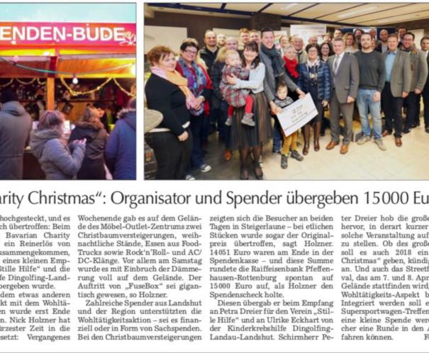 Landshuter Zeitung - Bericht zum 1. Lower Bavarian Charity Christmas
