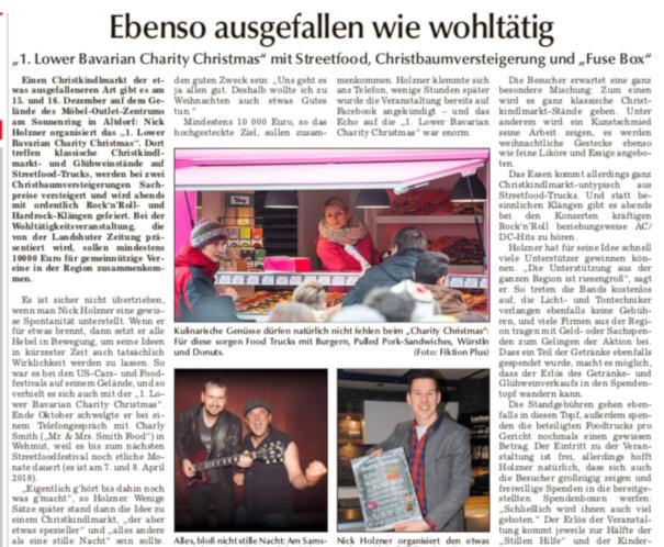 Landshuter Zeitung - Vorbericht zum 1. Lower Bavarian Charity Christmas