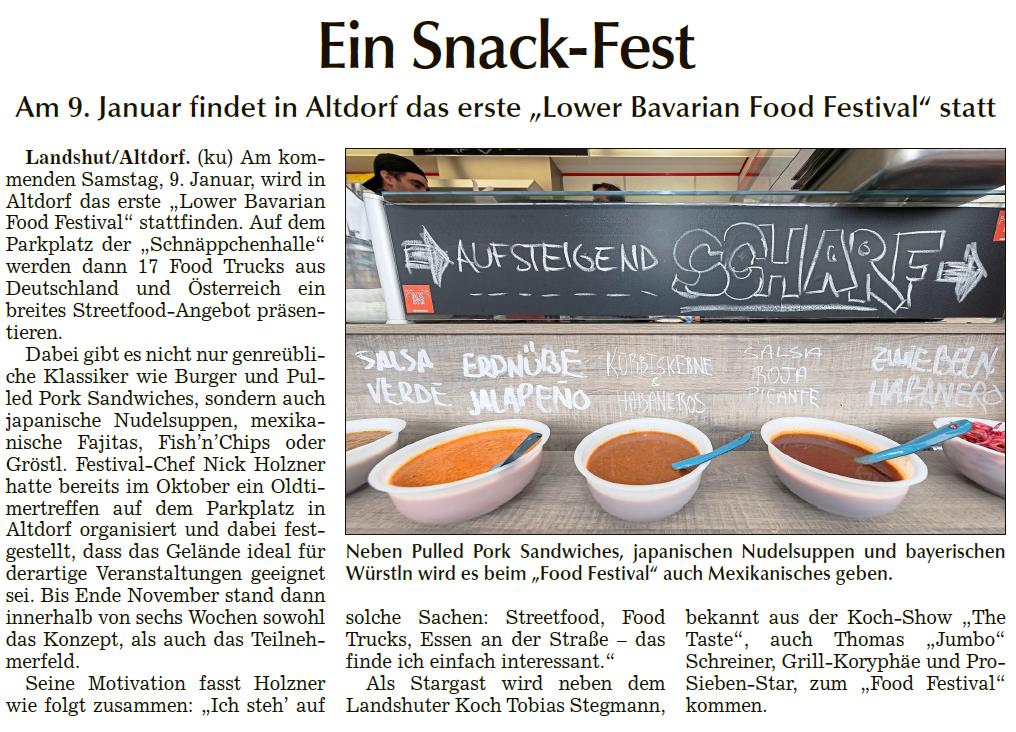 Landshuter Zeitung - Vorbericht zum 1. Lower Bavarian Food Festival (Titelseite)