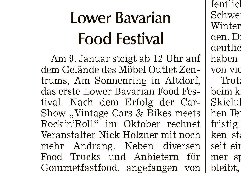Landshuter Zeitung - Vorbericht zum 1. Lower Bavarian Food Festival (Rand)