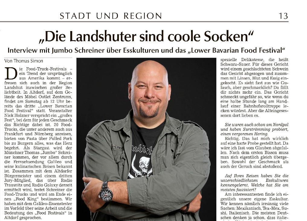 Landshuter Zeitung – Vorbericht zum 3. Lower Bavarian Food Festival.
