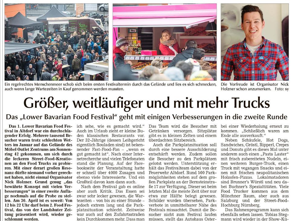 Landshuter Zeitung – Vorbericht zum 2. Lower Bavarian Food Festival