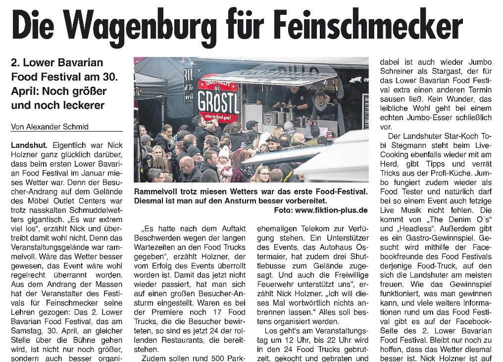 Landshuter Wochenblatt - Vorbericht 2. Lower Bavarian Food Festival