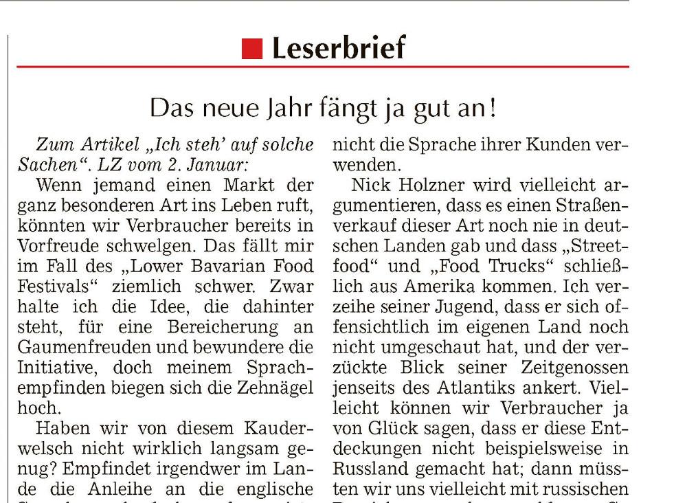 Leserbrief zum 1. Lower Bavarian Food Festival